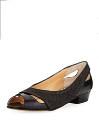 Amalfi By Rangoni Impero Cutout Peep Toe Flat Black Pattern
