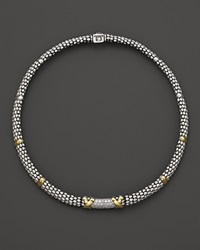 Lagos Diamond Lux 18K Gold And Sterling Silver Oval Rope Necklace 16 Silver Gold