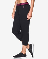 Under Armour Favorite Fleece Capri Pants Black Tropic Pink