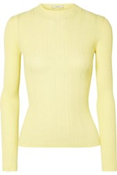 Vince Ribbed Cotton Sweater Bright Yellow