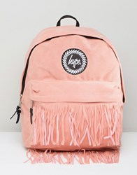 Hype Backpack With Fringed Pocket Pink
