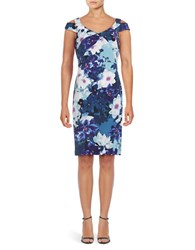 Adrianna Papell Floral Printed Cold Shoulder Dress Blue Multi