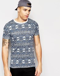 Asos Muscle T Shirt With Geo Tribal Print And Contrast Ringer Bluewhite