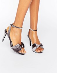 Warehouse Velvet Bow Heeled Sandals Silver