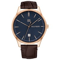 Tommy Hilfiger 1791493 'S Damon Date Leather Strap Watch Brown Blue