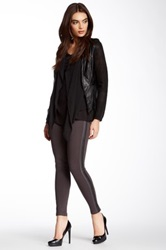 Gracia Faux Leather Trim Legging Gray
