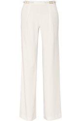 Halston Faux Leather Trimmed Stretch Woven Wide Leg Pants