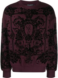Dolce And Gabbana Flocked Print Sweatshirt Black