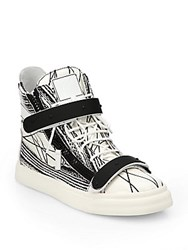 Giuseppe Zanotti Scribbled Leather High Top Sneakers Black White