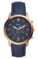 Fossil Neutra Chronograph Leather Strap Watch 44Mm Blue