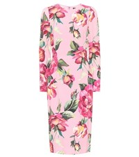 Dolce And Gabbana Floral Printed Dress Pink