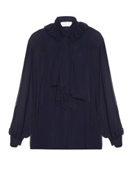 See By Chloe Ruffle Trimmed Long Sleeved Crepe Blouse Navy