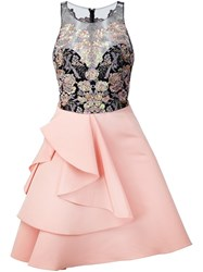 Marchesa Notte Embellished Top Dress Pink And Purple