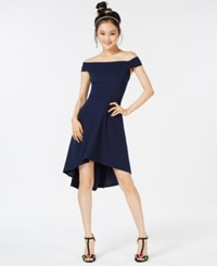 Teeze Me Juniors' Off The Shoulder Fit And Flare Dress Navy