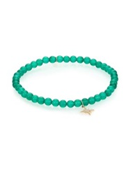 Sydney Evan Diamond Green Onyx And 14K Yellow Gold Starburst Beaded Stretch Bracelet Turquoise Gold