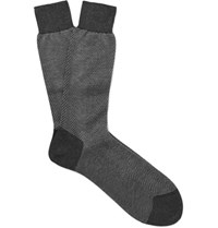 Tom Ford Herringbone Cotton Socks Gray