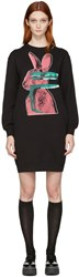 Mcq By Alexander Mcqueen Black Glitch Bunny Classic Dress