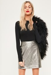 Missguided Silver Faux Leather Quilted A Line Skirt