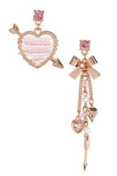 Betsey Johnson Pearl Heart And Bow Mismatched Drop Earrings Pink