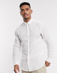 Only And Sons Slim Fit Linen Shirt In White