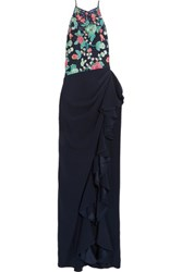 Badgley Mischka Embroidered Mesh And Stretch Crepe Gown Navy