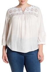 Blu Pepper Embroidered Long Sleeve Blouse Plus Size White