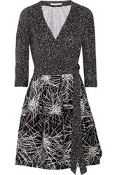 Diane Von Furstenberg Jewel Wool And Silk Blend And Printed Cotton And Silk Blend Wrap Mini Dress Black