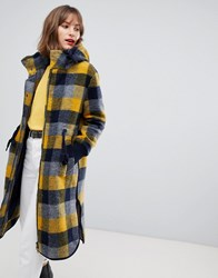 Esprit Hooded Coat In Yellow Check Multi