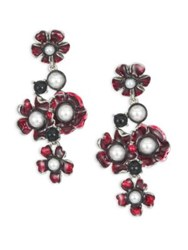 Oscar De La Renta Flower Resin And Faux Pearl Clip On Drop Earrings Ruby