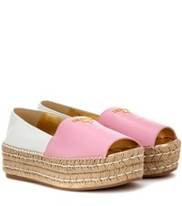 Prada Leather Peep Toe Espadrille Shoes Pink