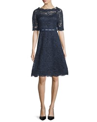 Rickie Freeman For Teri Jon Short Sleeve Lace A Line Cocktail Dress Navy