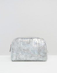New Look Large Curve Snake Effect Make Up Bag Silver