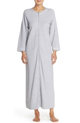 Women's Carole Hochman Designs Waffle Knit Zip Robe Grey Heather