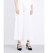 Roland Mouret Ward Satin Wide Leg Trousers White