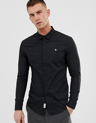 Jack Wills Skinny Fit Poplin Stretch Shirt In Black