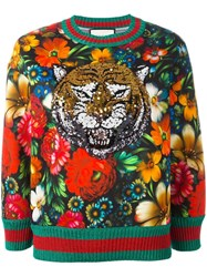 Gucci Sequinned Tiger Floral Sweatshirt Green