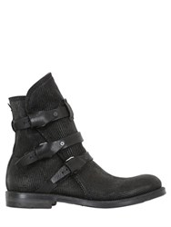 A.S.98 3 Buckles Embossed Leather Boots