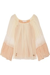 Chloe Fluted Silk Crepon Blouse Cream