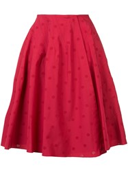 Alaia Dotted Pattern Skirt Red