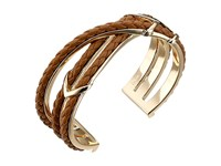 Cole Haan Chevron Metal Leather Braided Cuff Gold Chestnut Bracelet Brown