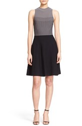 Milly Women's Colorblock Sleeveless Ottoman Knit Fit And Flare Dress Grey Black