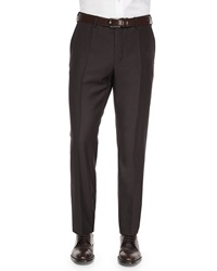 Incotex Benson Sharkskin Wool Trousers Dark Brown