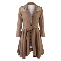 A M M E Light Weight Camel And Gold Riding Coat Gold Brown Nude