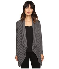 B Collection By Bobeau Simone Rib Knit Cardi Charcoal Grey Women's Sweater Gray