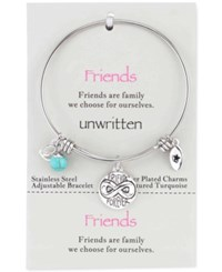 Unwritten Friends Forever Charm And Turquoise 8Mm Bangle Bracelet In Stainless Steel No Color