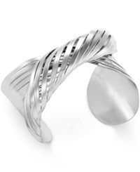 Bar Iii Silver Tone Twisted Cuff Bracelet Only At Macy's