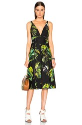 Proenza Schouler Printed Satin V Neck Long Dress With Slits In Black Floral Green