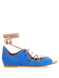 Malone Souliers Savannah Lace Up Suede And Leather Sandals