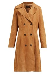 Nili Lotan Double Breasted Suede Trench Coat Brown