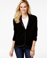 Charter Club Petite Faux Leather Trim Blazer Only At Macy's Deep Black